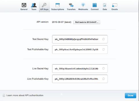 Stripe API keys