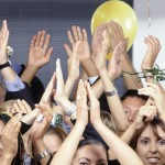 Business pople clapping hands and celebrating
