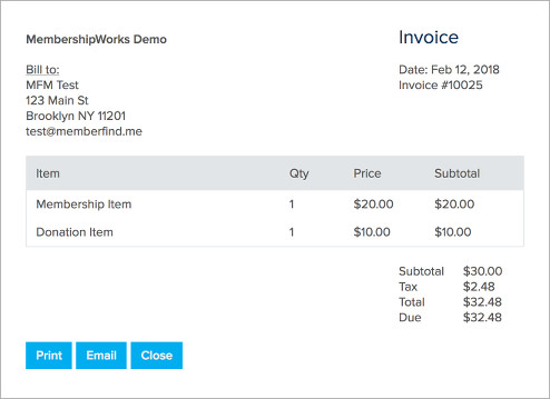 Allow Members To View Print Email Pay Invoices MembershipWorks - Email for invoice payment