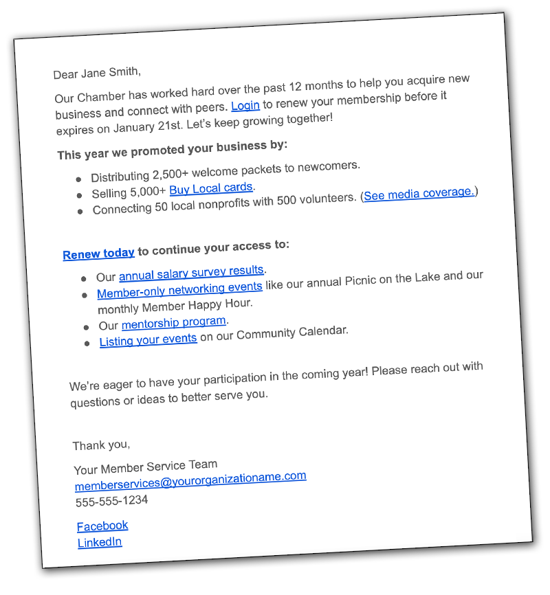 Membership Renewal Letter