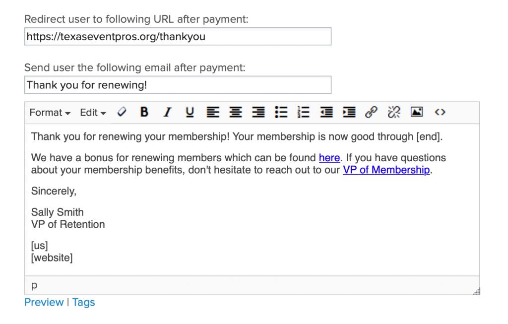 Renewal email