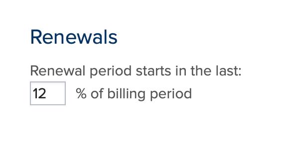 Renewal period setting