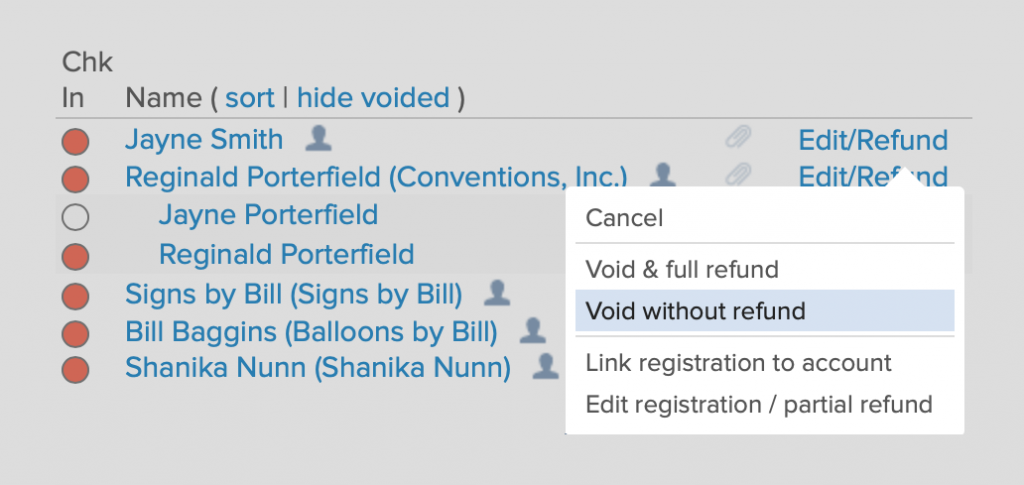 Void an event ticket without a refund