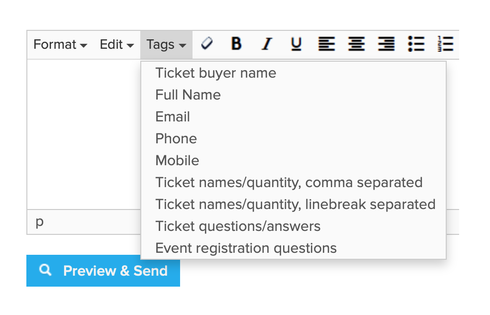Tags in event emails