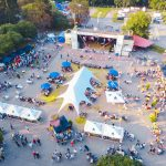 overhead view of an event taken from a drone