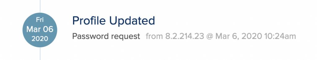 Profile updated: password request