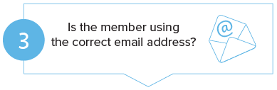 Member login step 3 - Is the member using the correct email address?