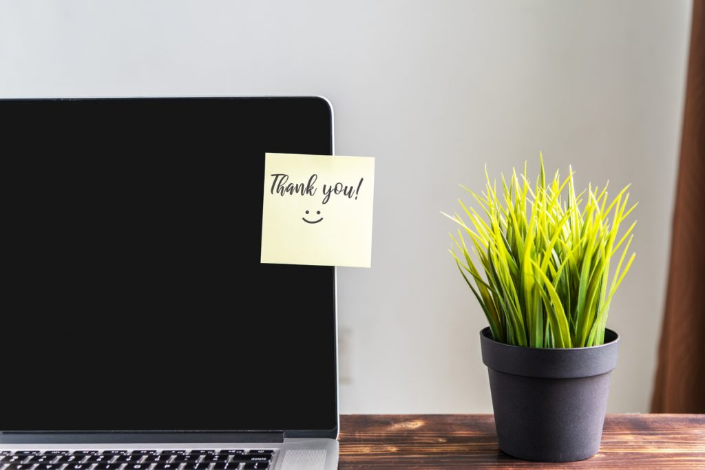 thank you note on a laptop